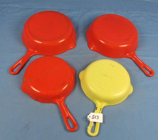4 Enamel Cast Iron Skillets: Griswold Mfg. Smooth; Sm. Logo; #5 Pn 724 (2) & #3 Pn 709 (1 Yellow/wh