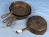 4 Skillets; Wagnerware; Smooth; 2-5's 1054; 2-6's 1056