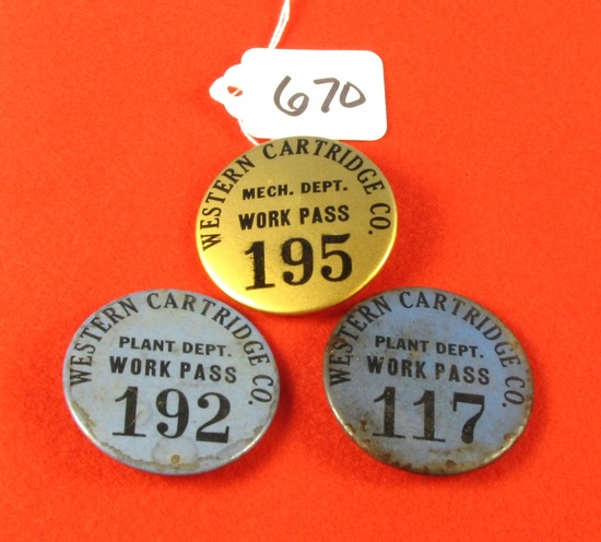 "3 Western Cartridge Co. Plant Badges; ""work Pass"""