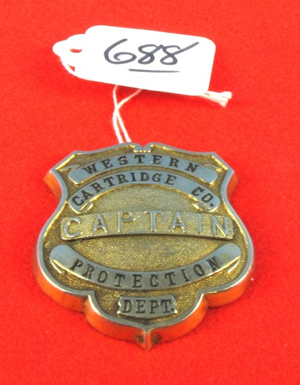 Western Cartidge Co. Captain Protection Dept. Badge