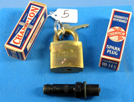 Lot: 2 Champion Spark Plugs; Ho-14s; In Boxes & Solid Brass Sargent Padlock W/key
