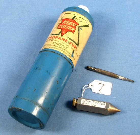 Lot: Plumb Bob; Shapleigh Kk; Nail Set; Ecs Keen Kutter & Propane Torch Bottle (big K) ; Not Shippa