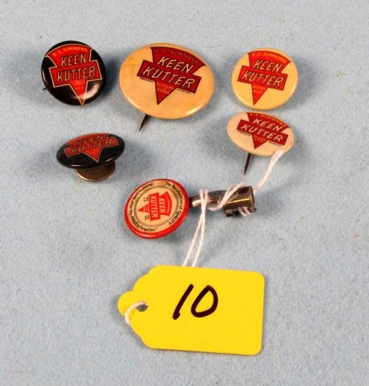 Lot: Keen Kutter Logo Pinbacks; 2 Blk & Red; 3 Wh. & Red (5) & Kk Pencil Clip