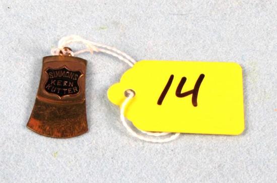 Axe Head Watch Fob; Old Shield Logo; Gold; Simmons Keen Kutter
