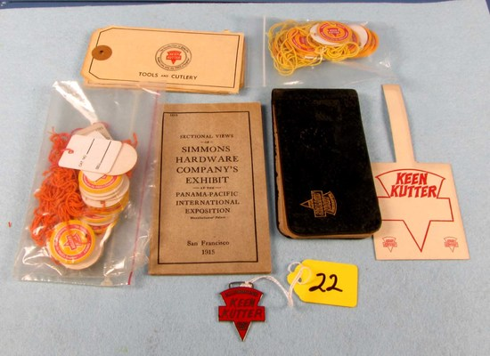 Lot:keen Kutter (string Tags; 1915 Pan-pacific Simmons Hdw Co Exhibit Booklet; Little Kk Note Book;