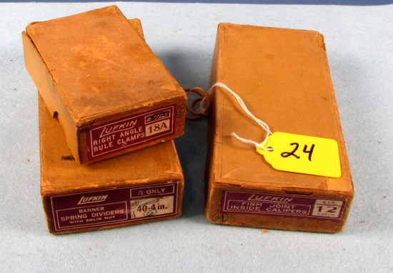 Lot: Lufkin Right Angle Rule Clamps 18a; Inside Calipers; Banner Spring Divider In Orig. Boxes