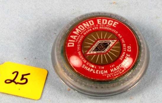 Glass Paperweight; Diamond Edge; Round; In Orig. Box; Very Nice