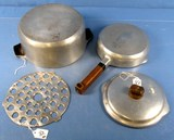 Aristocraft Ware No. 5 Roaster; Alum. Griswold; P/n A1465; Bottom Only & 2 Pc. Skillet & Cover; A12