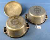 Alum. Dutch Oven; #6 Griswold Ll; Epu; 462 ½ W/cover A462 ½ C; Griswold Ll; Slant. (2 Bottoms-1 Cov