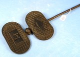 Unusual Long Handled Wafer Iron; With 2 Penn Dutch Figures In Center Of Other Geometric Designs (w