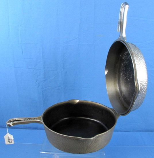 No. 8 Hinged Double Skillet; Hammered; Griswold Sl; Erie Pa; Chrome; P/n 2040/2028 W/extra Hinged L