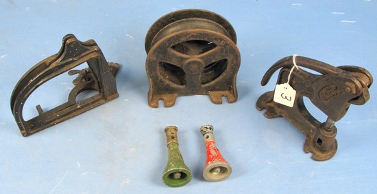 Cast Iron Lot (pulley; Mini Floor Jacks; Rex Rivet Setter & Gauge Setter?)