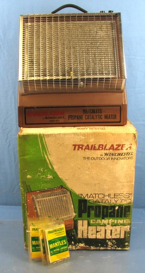 Winchester Trailblazer Camping Propane Heater & Box Of Winchester Mantles.