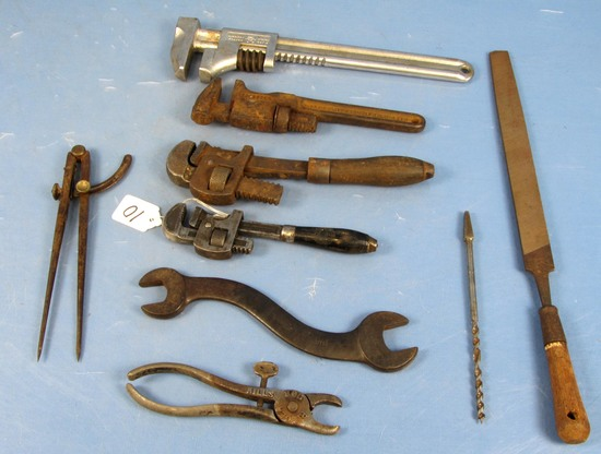Tool Lot: Pipe Wrench; Monkey Wrench; File; Drill Bit; Hog Ringer; Mack S Wrench