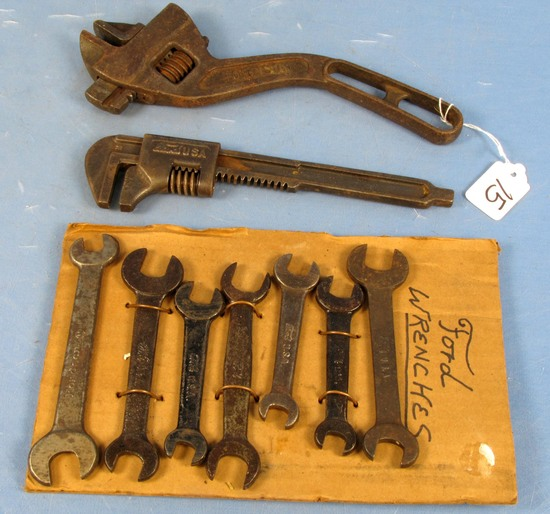 Lot Of Fordson & Ford Tools ( Adj. S Wrench; Automobile Wrench; 7 Dbl. Open End Wrenches)