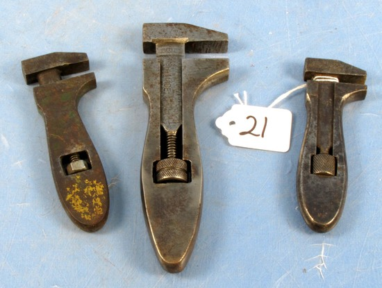 3 Monkey Wrenches: 4 1/2in & 5in Billings & Spencer Usa; 6 1/2in British Made