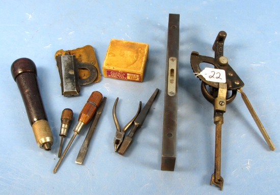 Misc. Lot: Lufkin Steel Tape In Box; 2 Brace Bits; Unusual Racine Wis Imperial Hand Drill?; 2 Sm. S
