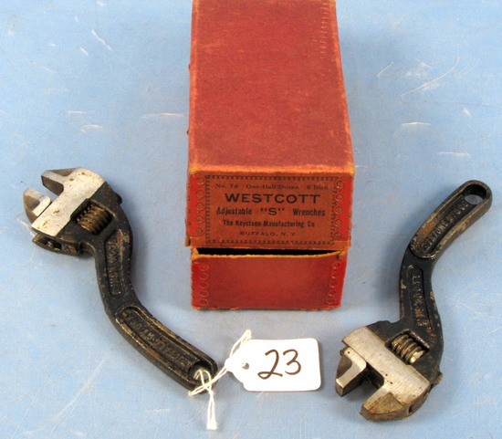 2 Adj. S Wrenches; Wescott #76; Keystone In Orig. Box