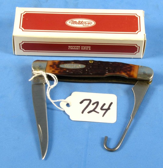 Pocket Knife; 1 Blade W/hook Blade; Western; Nib