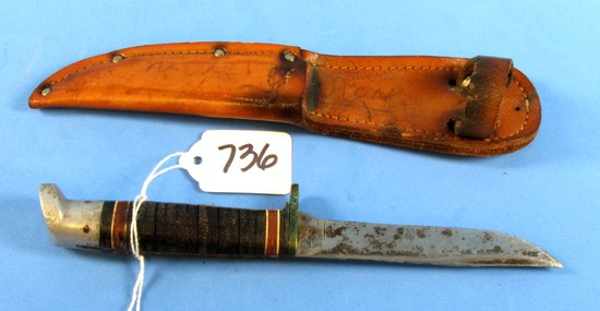 Hunting Knife W/sheath; Boy Scout Emblem On Blade; Button On Sheath; Official Boy Scouts Of America
