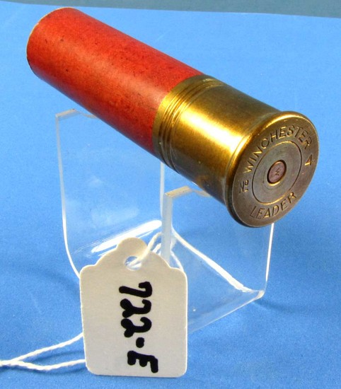 Shot Shell; Winchester No. 4 Leader; Red Paper Case; High Brass. 4in Oal; Npe; Circa 1890's; Empty