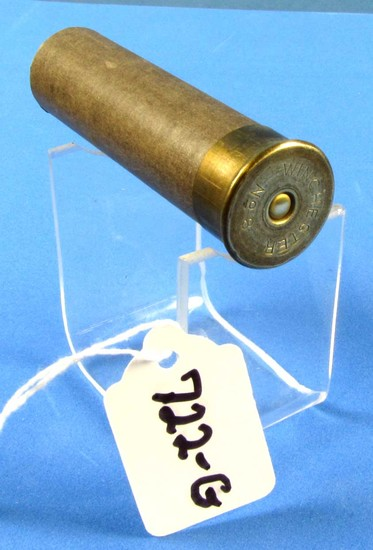 Shot Shell; Winchester No. 8 Charcoal Grey Case; Low Brass; 3 1/2in Oal; Npe; Circa 1880's; Empty