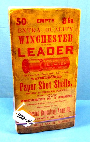 Fabulous Winchester 8 Ga. Leader Shot Shell Shoebox; Full Of 50; 1901 Leader Paper Shot Shells; Uniq