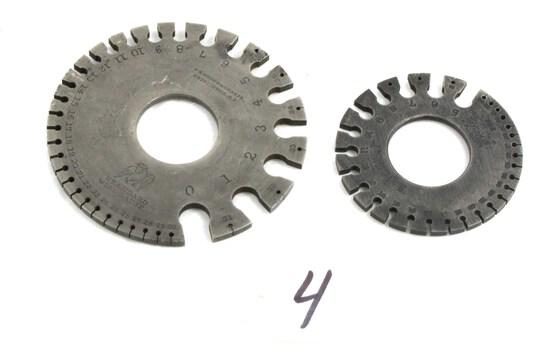 2 Wire Gauges: Ls Starrett (sm.); Brown & Sharpe (lg)