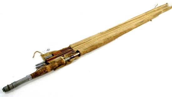 Bamboo Fly Fishing Rod; 4 Pc. Kiraku & Co; W/cloth Case