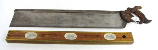 """Lot: Levels; 24"""" Mahogany; Brass Bound; Blue Grass & 24"""" Mitre Saw; Disston; Very Old"""
