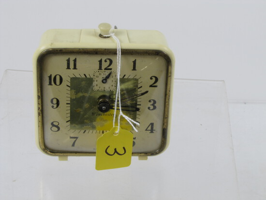 Alarm Clock; Winchester; White Celluloid Case; Good