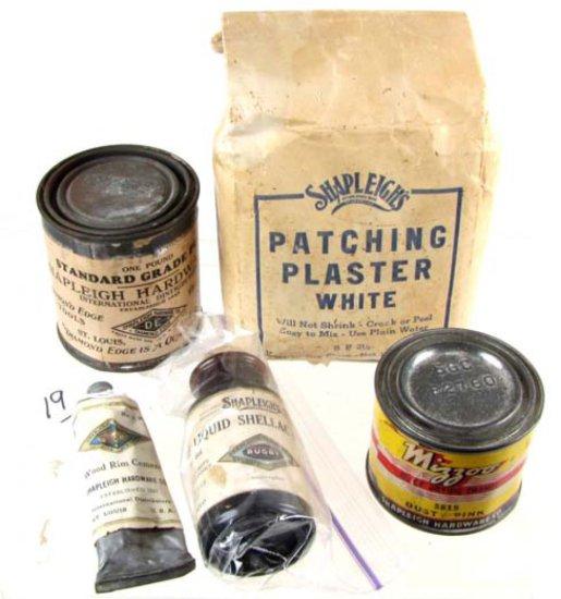 Lot: Shapleigh Items: Shellac; Mizzou Paint Can; 1 Pt; De High Grade Putty; Patching Plaster; Wood