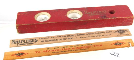 2 Wooden Shapleigh Rulers: The Lindas Lumber Co. & Geo. Wentz; Marine; Ill & Shapleigh's 12in Wooden