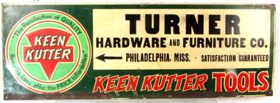 Metal Store Sign; 10in X 28in; Keen Kutter; Turner Hardware & Furniture; Phila. Miss