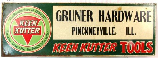 Metal Store Sign; 10in X 28in; Keen Kutter; Gruner Hardware Pinckneyville; Ill