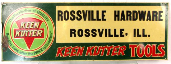Metal Store Sign; 10in X 28in; Keen Kutter; Rossville Hardware Rossville; Ill