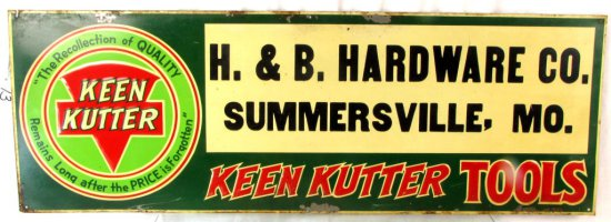 Metal Store Sign; 10in X 28in; Keen Kutter; H & B Hardware; Summersille; Mo