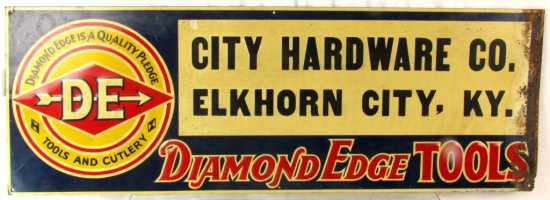 Metal Store Sign; 10in X 28in; Diamond Edge; City Hardware; Elkhorn City; Ky