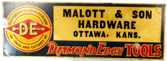 Metal Store Sign; 10in X 28in; Diamond Edge; Malott & Son Hardware; Ottawa; Ks