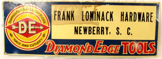 Metal Store Sign; 10in X 28in; Diamond Edge; Frank Lominack Hardware; Newberry; Sc