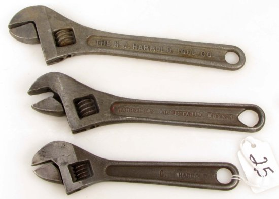 3 Adjust. Wrenches: Harrold-6; Harrold's-8; Hj Harrold Tool Co.-8