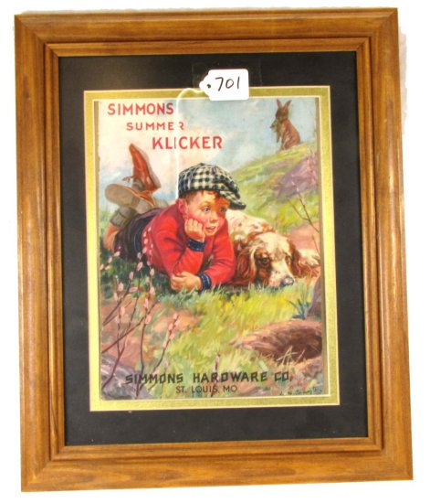 Advertising; Simmons Summer Klicker; Boy W/ Spaniel; Hintermeister Print; Simmons Hardware St. Loui