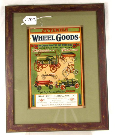 Advertising; Cardboard; Juvenile Wheel Goods; Shapl. Hardware; 6in X 9_3/4in; Shadowbox Framed
