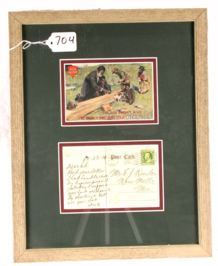 Postcard; 1909; Inthe Dog Doesn't Mind…it's A Keen Kutterin; Black Memorabilia; Framed