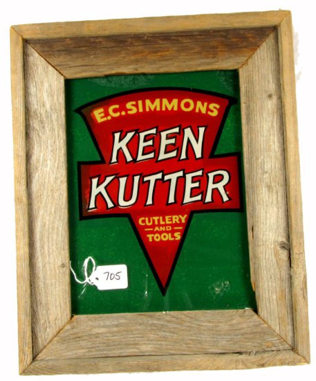 Ecs Kk Logo; Reverse Painting On Glass; 9in X 12in; Barnwood Framed; Very Colorful; Excellent Condi
