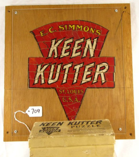 Advertising Die Cut Jigsaw Puzzle; Wood & Original Box; Ecs Kenn Kutter Logo; Exc. Cond.