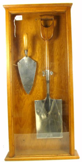 Groundbreaking Shovel (kk Logo) & Concrete Trowel (not Kk); In Oak Case; From The Paul Keener Colle