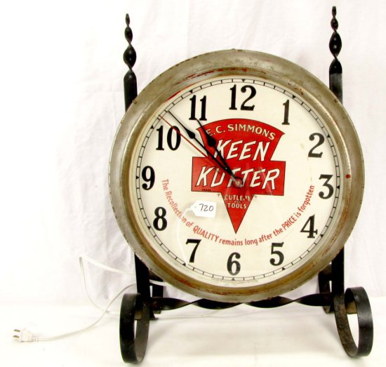 Store Advertising Clock On Wrought Iron Stand (can Hang Or Stand); Ecs Kenn Kutter Logo; W/motto; E
