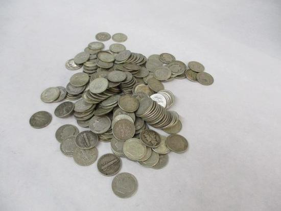169 U.S. Silver Dimes including Roosevelts and
