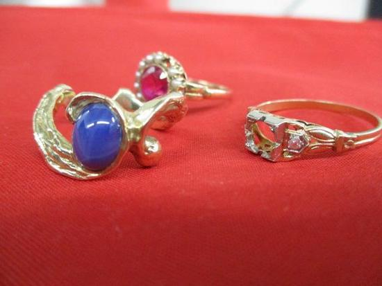 3 14K Yellow Gold Rings1. With Blue Cabochon Ston